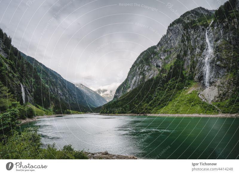 Stillup Lake and mountain alpine waterfalls Austria, Tyrol lake austria summer surface stillup landscape idyllic tirol travel tyrol scenic peak nature tourism
