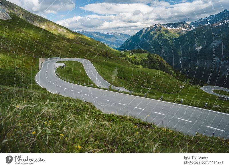 Serpentine road over mountain pass - Grossglockner, Austria grossglockner austria touring shot nature scenic view landscape travel alps cold snow day serenity
