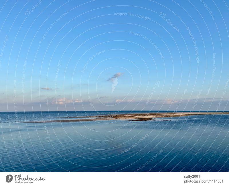 North Sea Ocean Horizon evening mood blue hour Sky Dusk Sunset Evening Blue Moody Water Landscape Amrum knee sand Knee-hook tranquillity Tide Mud flats