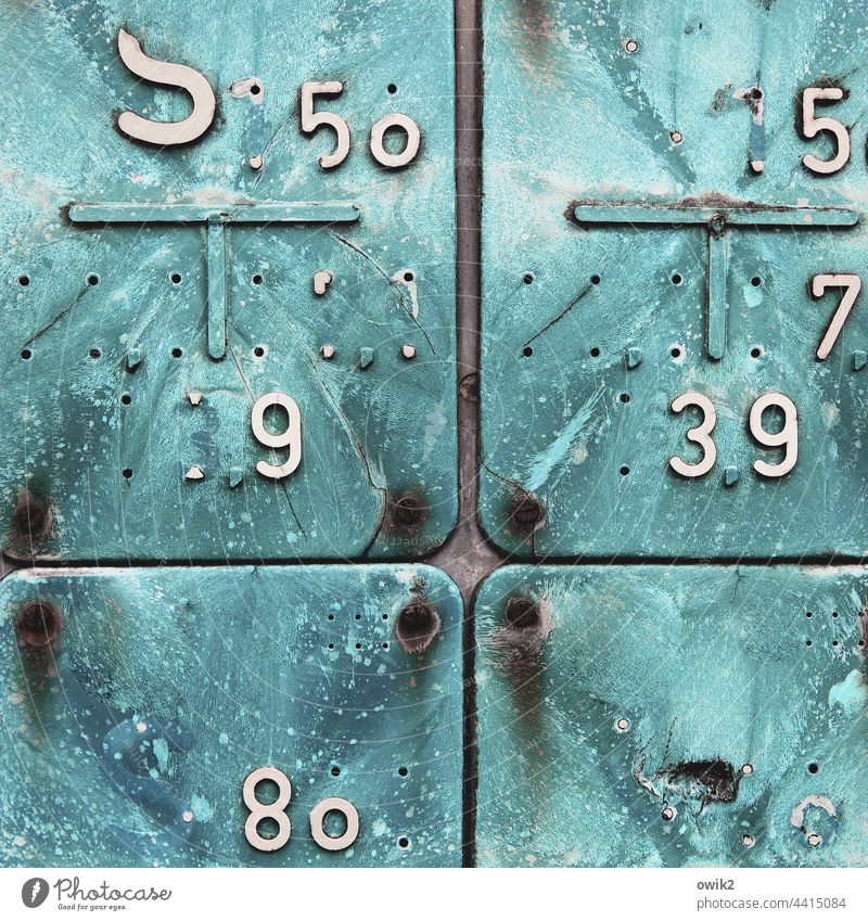 Inexplicable Signs and labeling Digits and numbers Plastic Ravages of time Colour photo Tracks Old Unclear Detail Close-up Structures and shapes Exterior shot