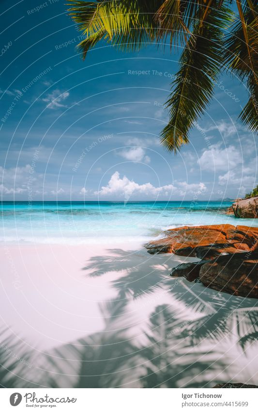 Exotic tropical beach. Pristine crystal clear turquoise ocean water, blue sky and white clouds. Summer recreation vacation lifestyle concept sand seychelles