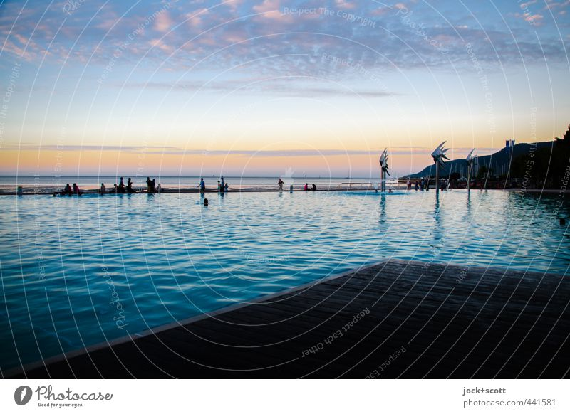 A lagoon Exotic Far-off places Water Clouds Horizon Warmth Coast Pacific Ocean Cairns Swimming pool Swimming & Bathing Relaxation Moody Safety (feeling of)