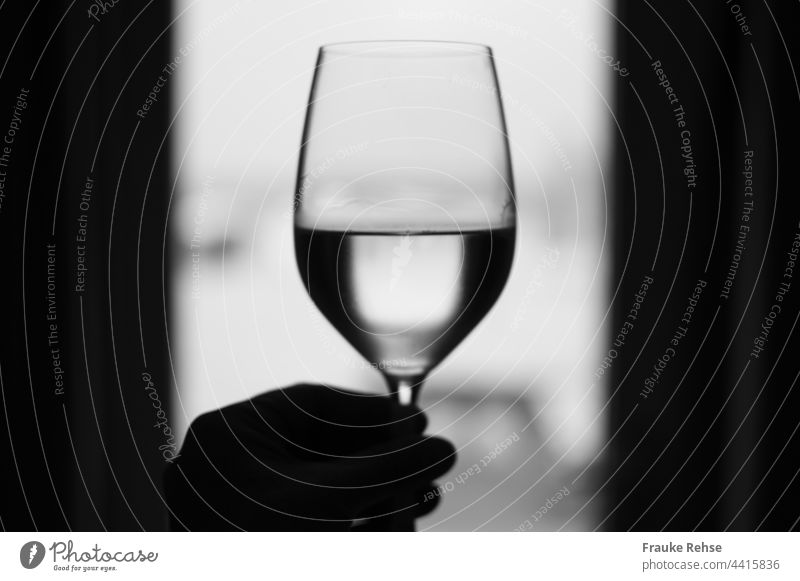 Santé!!! Half filled wine glass in front of a window for the sake of For the good Cheers Vine Wine glass White wine drapes Glass Drinking Alcoholic drinks