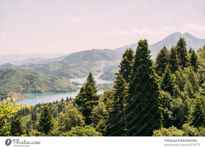 Green summer mountains landscape and lake Plastiras in Greece plastiras Greek Landscape Nature Trees Summer