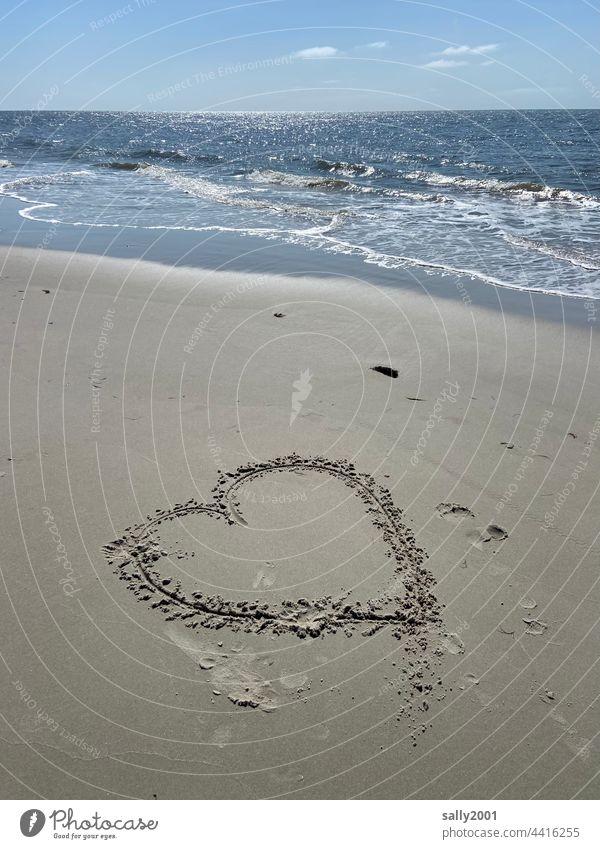 ocean love Heart Love symbol Ocean Beach Surf Low tide Water Horizon Waves Sand coast North Sea Vacation & Travel Nature Sandy beach Declaration of love Drawing