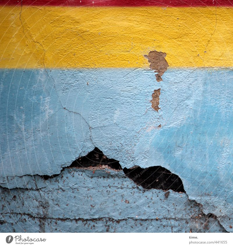 Subtenants | Retreat area Wall (barrier) Wall (building) Plaster Rendered facade Dirty Sharp-edged Broken Trashy Town Blue Yellow Effort Apocalyptic sentiment