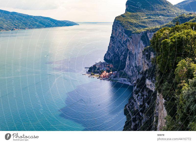View of Lake Garda from Tremosine Gardesana road Holiday Italian city Italy Mediterranean Recreation copy space holidays italian italy lake landscape leisure