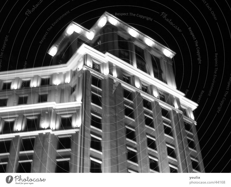 town Building Night Black & white photo Barcelona Light Town Tall House (Residential Structure) Story Window Column Sky Facade Night life Dark Architecture