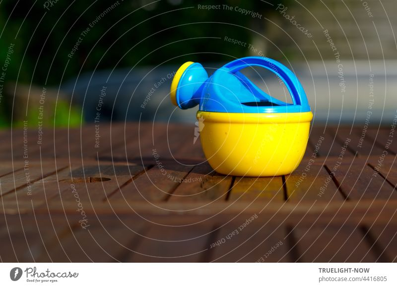 Colorful watering can. Waiting on the garden table. For children's hands. Garden Garden table Wood Watering can children's watering can variegated blue-yellow
