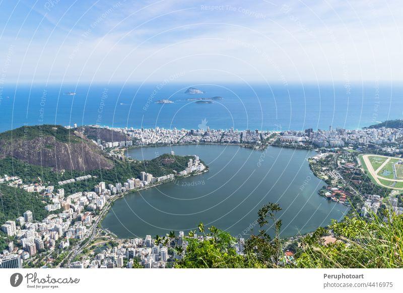 Rio de Janeiro. Brazil. View of the city from mount Corcovado. brazil bay mountain cityscape landmark rio de janeiro south america sea travel boat