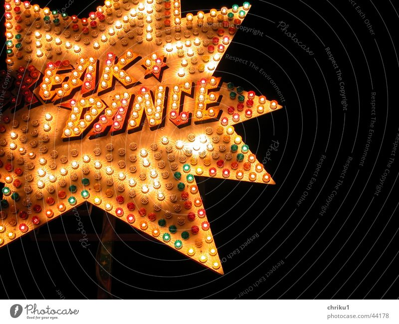 break dance Fairs & Carnivals Theme-park rides Night Light Lamp Neon sign Leisure and hobbies Signs and labeling Star (Symbol) blink