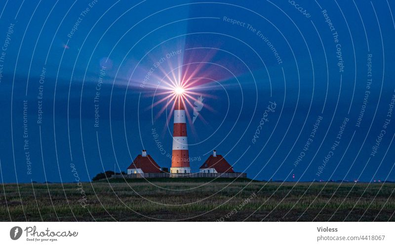 As the land, so the lighthouses Westerhever Lighthouse North Sea Night rays dazzling Blue coast Dark Westerhever lighthouse Landscape Tourism Vacation & Travel