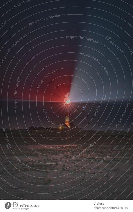 Westerhever - lighthouse at night North Sea Lighthouse watt Dark rays coast Landscape holidays Nature Ocean Red