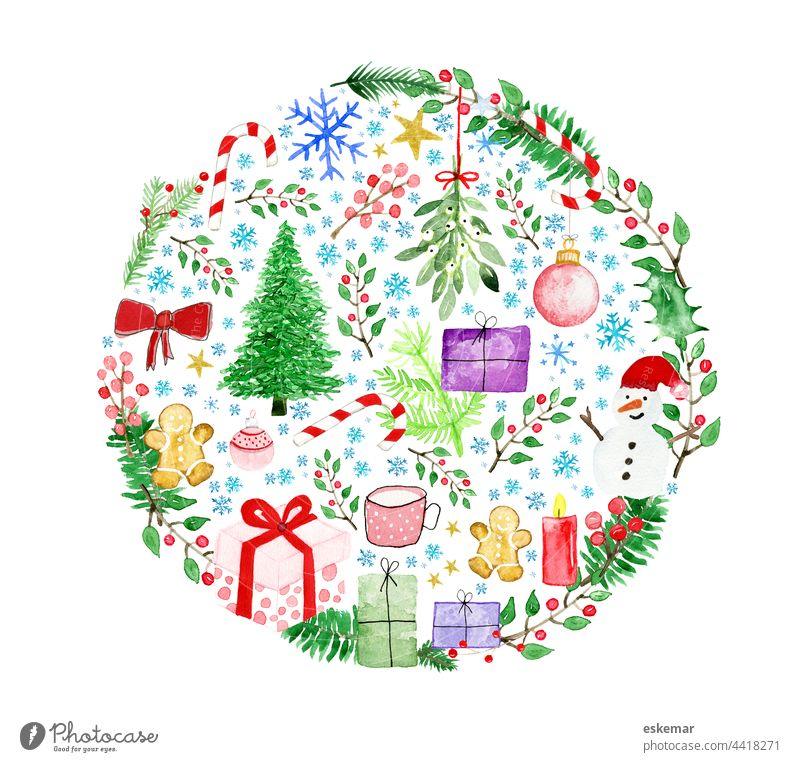Christmas Christmas tree ball watercolor Watercolors Circle Sphere snowflakes Glitter Ball christmas ball Copy Space map Gift Snowman christmas tree fir tree