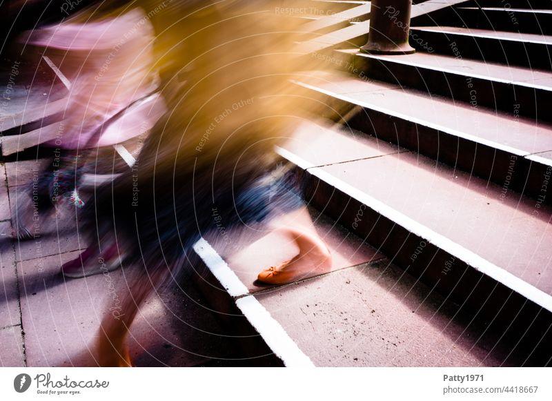 Pedestrians descending a staircase - motion blur close up of legs Colour photo blurriness Walking Going Street Human being Exterior shot Movement Shadow