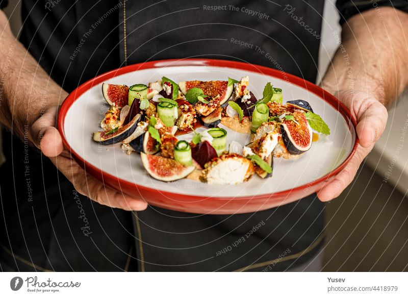 People at work. The chef's hands are holding a plate with summer salad with ripe figs, goat chevre cheese, fresh cucumber roll, beetroot and mustard leaves with tomato sauce. Restaurant dish