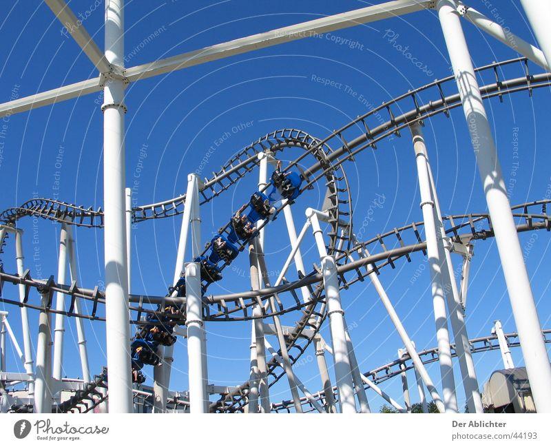 8er lane Roller coaster Bottrop Speed Screw White Summer Transport Movie Park Blue