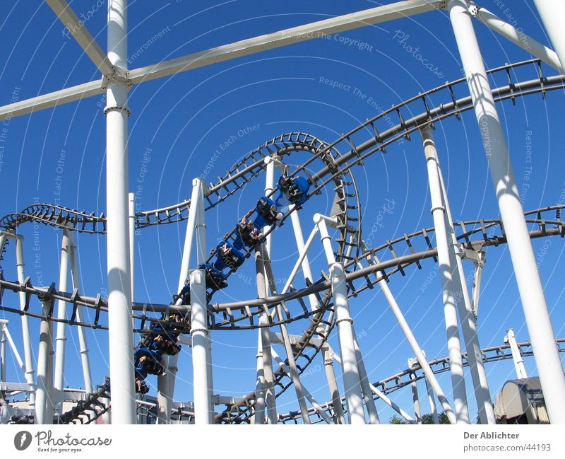 White Blue Summer Transport Speed Screw Roller coaster The Ruhr Bottrop