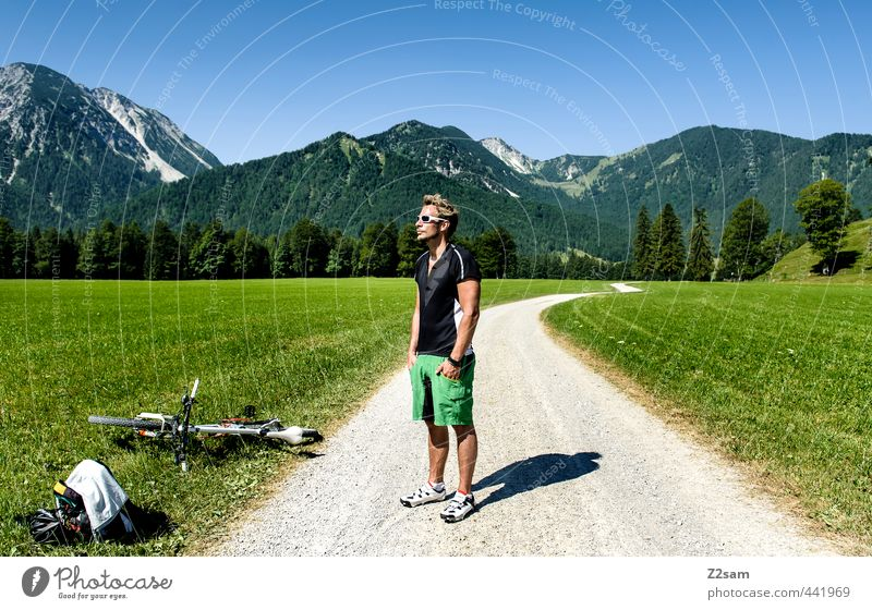 biker Lifestyle Style Cycling Young man Youth (Young adults) 1 Human being 18 - 30 years Adults Nature Landscape Summer Beautiful weather Meadow Alps Mountain