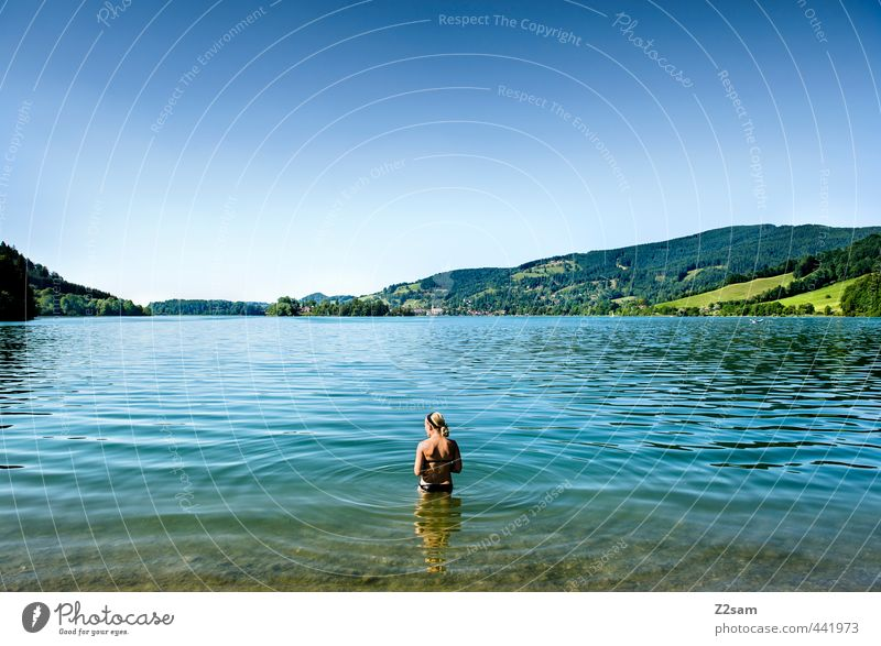 Youth (Young adults) Vacation & Travel Blue Beautiful Green Water Summer Relaxation Calm Landscape Young woman Adults 18 - 30 years Cold Mountain Feminine