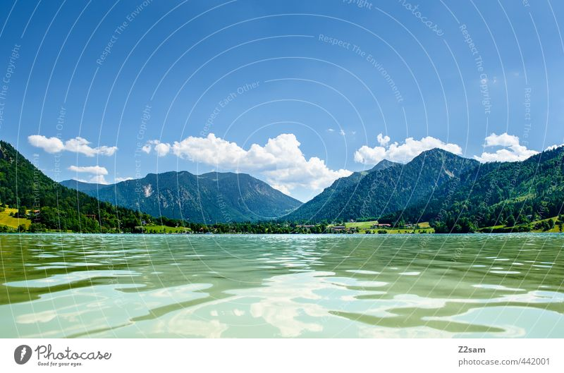 Schliersee Nature Landscape Water Sky Clouds Summer Beautiful weather Alps Mountain Fresh Infinity Natural Clean Calm Loneliness Relaxation Vacation & Travel