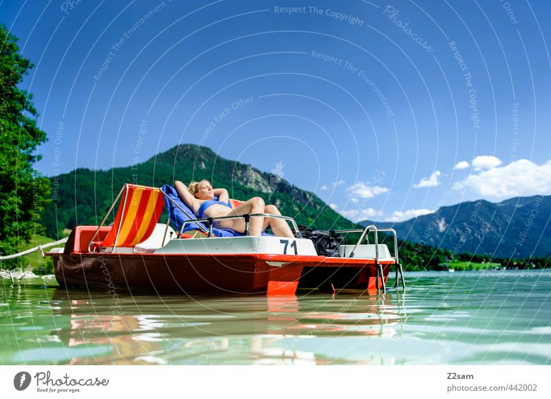 Youth (Young adults) Vacation & Travel Beautiful Water Summer Relaxation Calm Young woman Landscape Adults 18 - 30 years Mountain Feminine Lake Lie Blonde