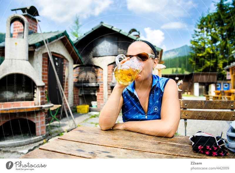 PROST!!!!!!!! Beer Lifestyle Style Vacation & Travel Cycling tour Summer vacation Sportsperson Feminine Young woman Youth (Young adults) 1 Human being