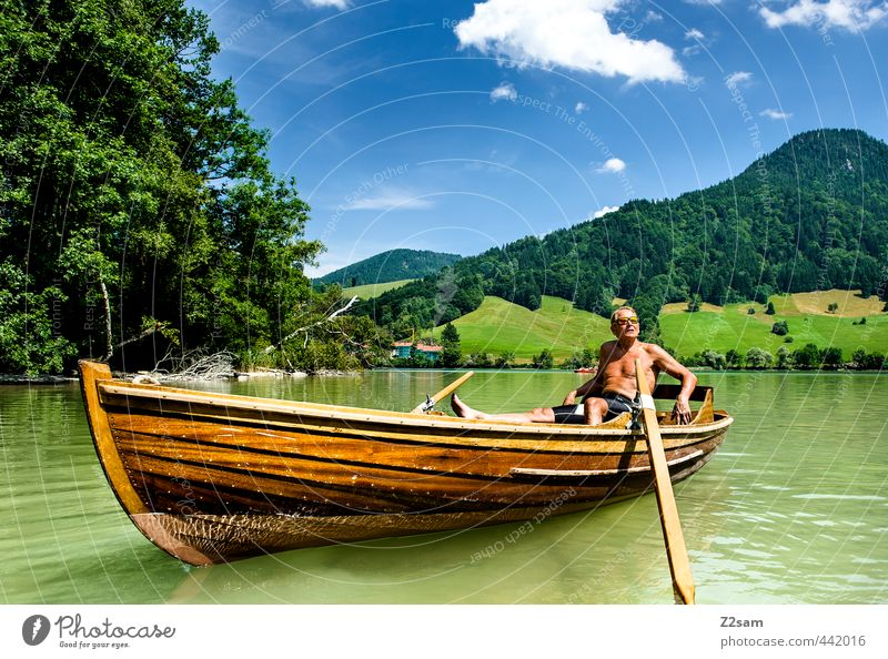 Sky Nature Vacation & Travel Man Old Summer Relaxation Landscape Calm Clouds Environment Mountain Senior citizen Lake Natural Masculine