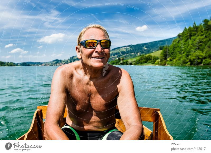 Pensioners rowing on the Schliersee Lifestyle Vacation & Travel Trip Summer vacation Cycling Masculine Male senior Man 1 Human being 60 years and older
