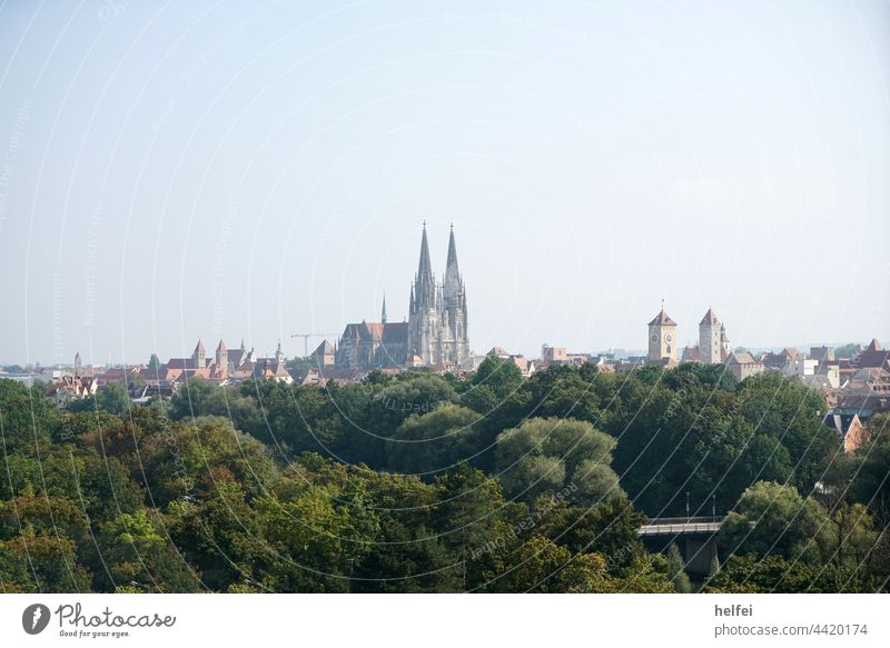 City view of Regensburg with its many churches and the gothic cathedral St. Peter Dome city view Church Bavaria Old town Exterior shot Town Danube Architecture