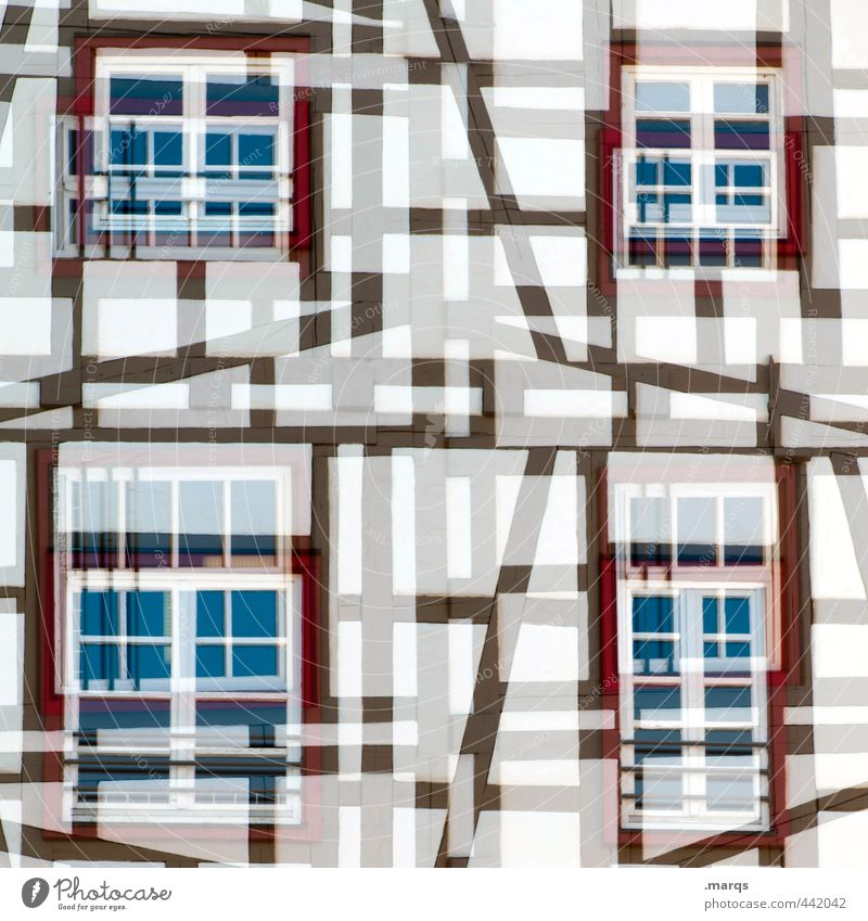 half-timbered Style Design Tourism Living or residing House (Residential Structure) Manmade structures Building Half-timbered facade Facade Window Line Old