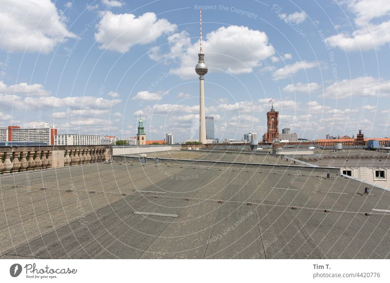 on a roof in Berlin with view to the television tower Television tower Berlin TV Tower Landmark Town Alexanderplatz Capital city Sky Tourist Attraction