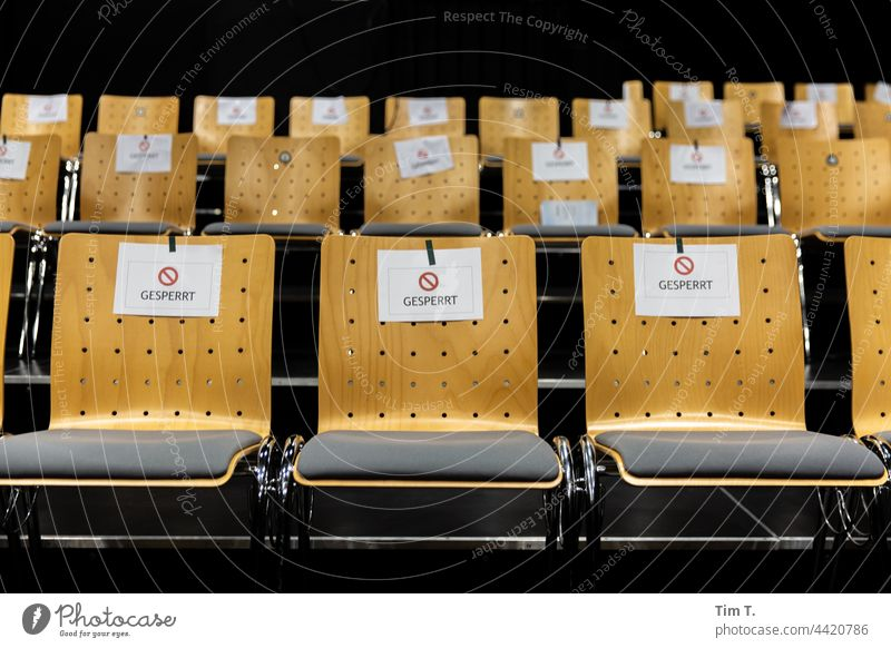 Corona in the theater ... Blocked seats Barred Chair Theatre University Deserted Seating Empty Row of seats Furniture Colour photo chairs Free Row of chairs