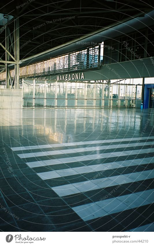 White Black Gray Architecture Glass Concrete Mirror Airport Greece Paving stone Grating Marble Macedonia Thessaloniki