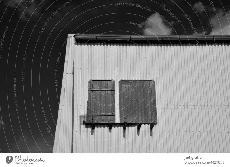 Port building in the sun Harbour Sky Clouds lines Hatch Window door Corrugated sheet iron Facade Light Shadow Building Architecture Wall (building)