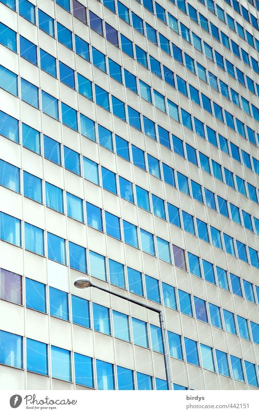 city archive Town High-rise Facade Window Esthetic Gigantic Blue Gray Survive Living or residing Office building Anonymous Street lighting Many Colour photo