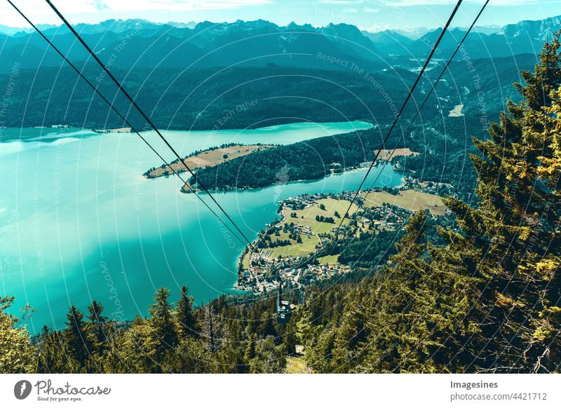 Bavaria and aerial cableway - Herzogbahn with Walchensee. Upper Bavaria Alps Bavaria Germany Europe Aerial cableway Duke Railway Lake Walchen Adventure