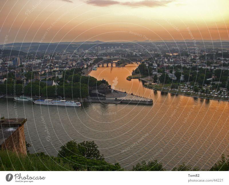 German Corner Deutsches Eck Koblenz Sunset Mosel (wine-growing area) Historic Rhine Sky Moselle
