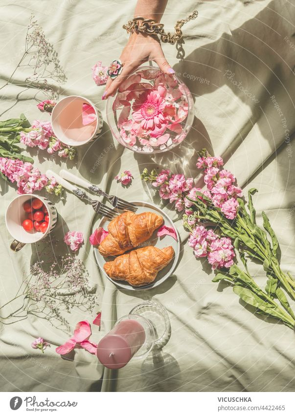 Aesthetic picnic at sun day with croissants, tea, bouquet of pink flowers and candles. Women hand holding glass vase with floating petals. Top view