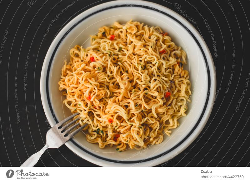 Asian noodles with vegetables on a plate. Horizontal view from above. Food Plate Noodles Dish Meal oriental Japanese Chinese Thai Pasta Dinner Healthy Vegetable