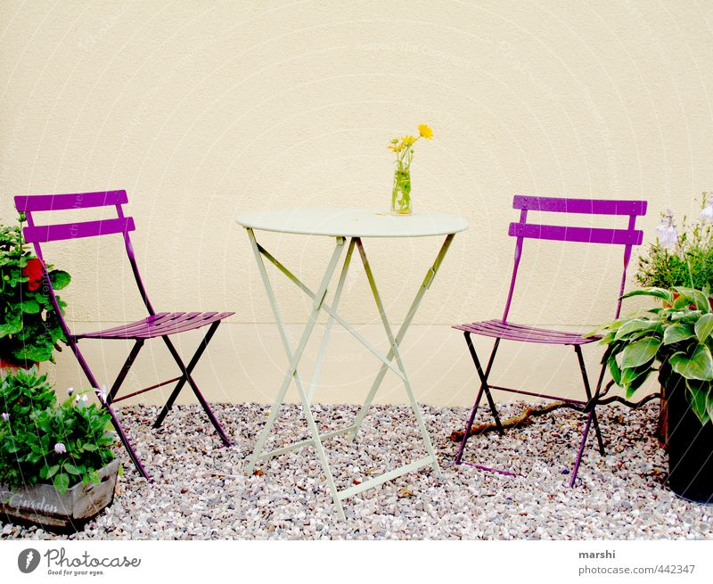 Place in the garden Lifestyle Leisure and hobbies Flat (apartment) Garden Nature Plant Moody Table Chair Furniture Pebble Violet Garden chair Relaxation
