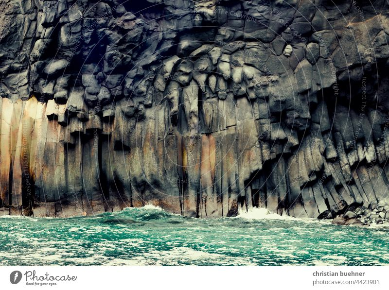 rock formations and sea Ocean steinformation Basalt Nature Beach faces Stone Stone wall Massive Raw mightily Waves White crest Dark