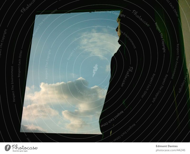Man Sky Blue Calm Clouds Far-off places Window Longing Brave Thought