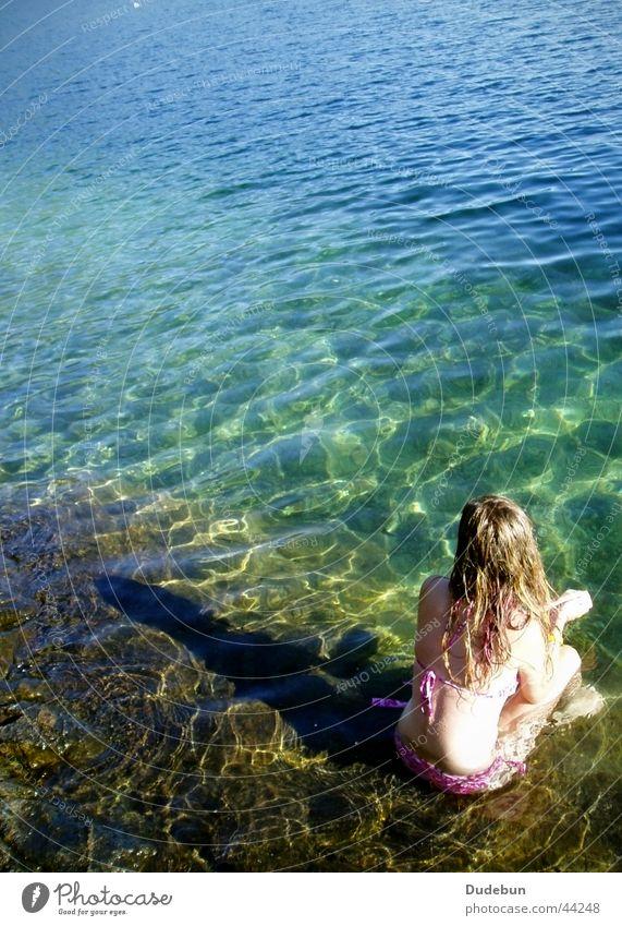 Woman Water Girl Summer Relaxation Feminine Lake Landscape Blonde Bikini Canada British Columbia