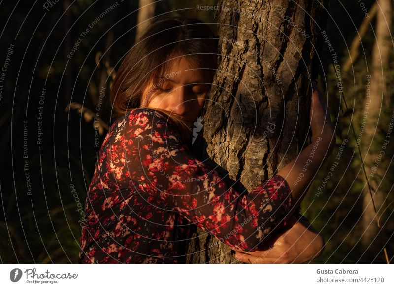 Woman in red flower dress hugs a tree. Hugs Tree trunk Exterior shot Colour photo Nature Forest feeling Sunset Natural Contact