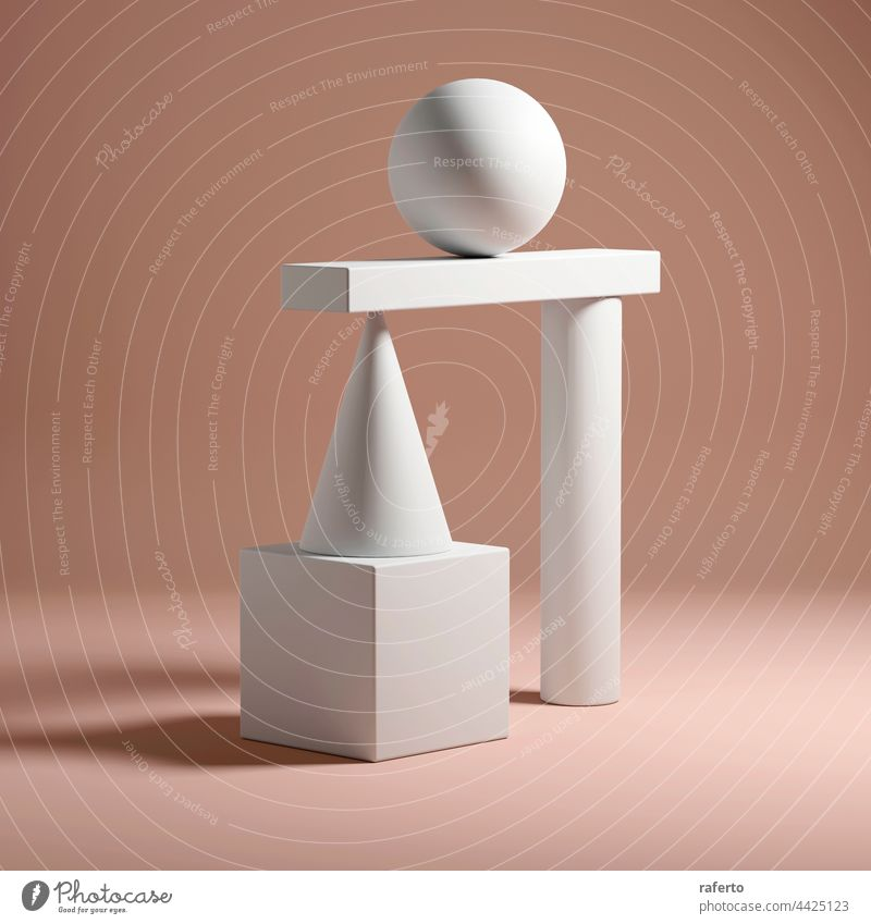 Abstract equilibrium still life installation 3d render shape concept geometry sphere balance geometric abstract design background ball cube illustration object