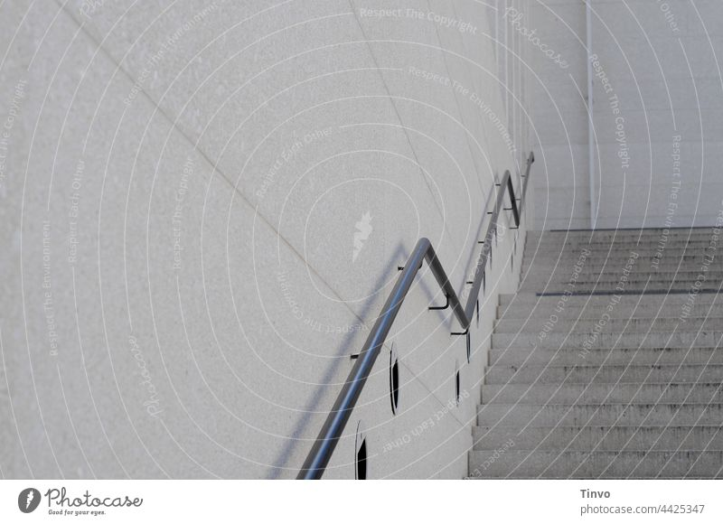 plain staircase with zigzag banisters Stairs Banister handrail Concrete steps unostentatious plain background Architecture Wall (building) Exterior shot Upward