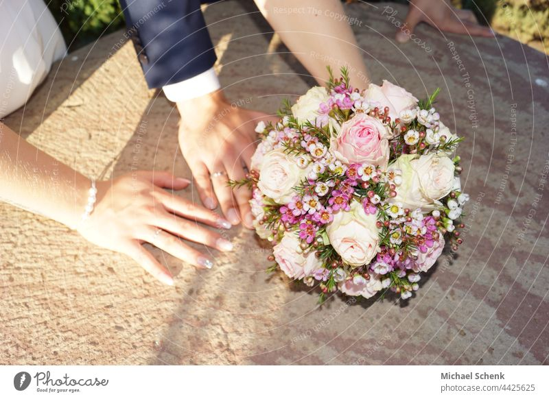 Bridal couple with bridal bouquet bride and groom, bridal bouquet, wedding rings, wedding, bride,groom Wedding Wedding dress Wedding couple Bride Man Love
