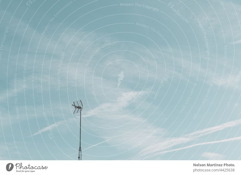 Minimal blue sky with a telegraph pole sharpened smooth blurry wispy trendy simplicity elegant motion misty minimalistic light space soft effect pastel