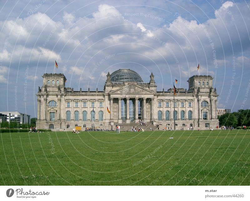 The Reichstag Politics and state Seat of government Meadow Clouds Historic Houses of Parliament Berlin Germany Architecture
